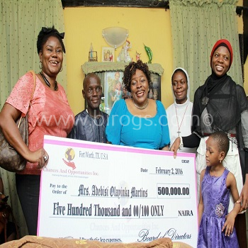 Representatives of Chances and Opportunities Inc. presenting the proceeds from the fund-raising to Mrs. Olayinka Martins in Lagos Nigeria. From L-R Valentina Ibirogba, Mr. & Mrs. Martins, Rev. Sr. Juliana Osiyemi E.H.J, Hajia Khadijah Tebun and little Celestine.